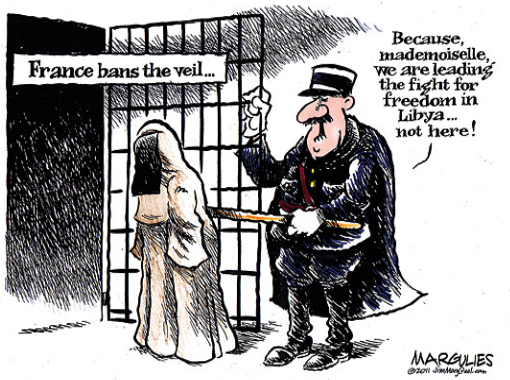 Veil ban cartoon France Libya
