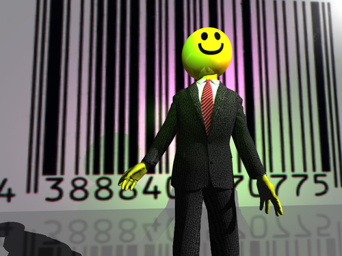 Smiley emoticon businessman in front of a barcode